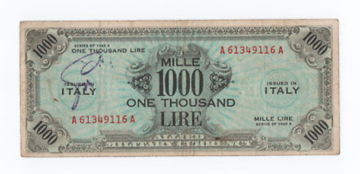 1000 Am Lire Bilingue Occupazione Americana In Italia Decr 1943  F.l.c