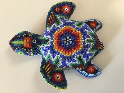 Mexico Turtlel Huichol Folk Art Colorful Beaded Carved Wood