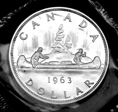 1963 Canadian silver $1 coin:  gorgeous prooflike in original mint cello