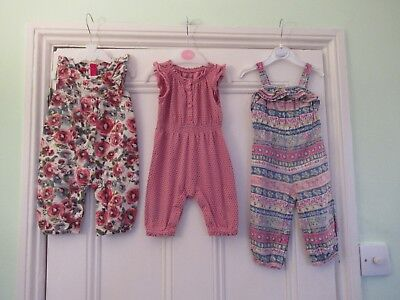3-6m: 3 summer jumpsuits/dungarees: Pink/Floral/Striped: Monsoon/ Baby Gap/ M&S