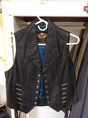 Harley Davidson Women's Leather Vest With Snaps