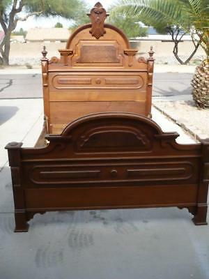Beautiful-Antique-Victorian-Full Size-Walnut-Bed