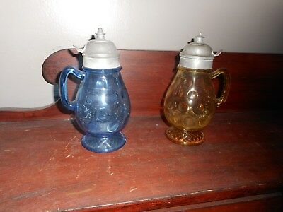Antique Glass Syrup Pitchers - pair of Victorian
