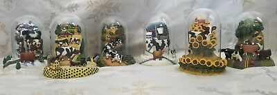 HTF Complete Set Lowell Herrero FRANKLIN MINT COW SCULPTURES dome scene