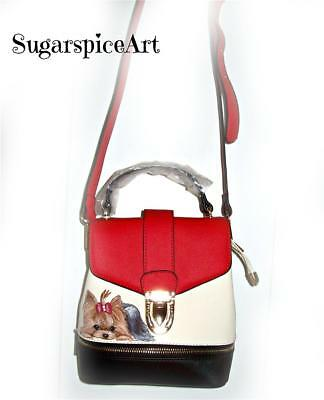 Yorkie Hand Painted Crossbody Handbag Messenger Purse by SugarspiceArt