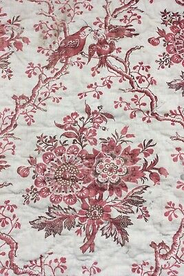 French Antique 18thC Linen Hand Blocked Toile de Jouy Quilted Fabric~Birds