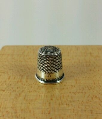 Vtg. Antique Simons Sterling Silver Thimble Size 9 Nice #8