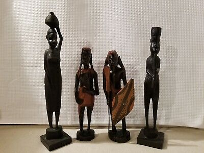 4 Hand Carved African Tribal Figures