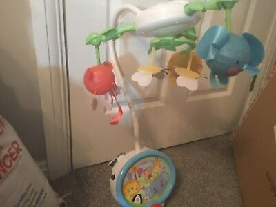 Fisher price baby cot mobile + projector with music lights jungle animals relax