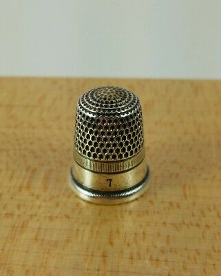 Vtg. Antique Early Simons Sterling Silver Thimble Size 7 1880's - 90's #12