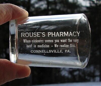 Etched Advertising Hazel-Atlas Rouse's Pharmacy Dose Glass ~ Connellsville, Pa.