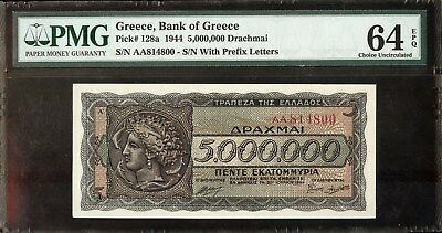 1944 Greece 5,000,000 Drachmai PMG 64EPQ Choice Unc