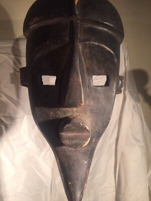 Unique Vintage African Tribal Mask Grebo/Bassa Hand Carved Wood Warrior  RARE