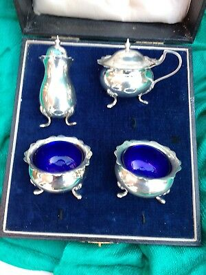 Antique hallmarked Silver Cruet Set (Mustard Pot, Salts & pepperette) – 1921