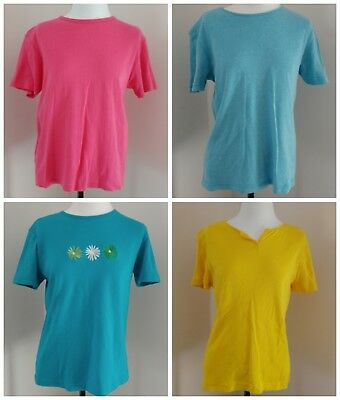 lot of FOUR basic Editions ladies t-shirts sz Small blue yellow turquoise pink