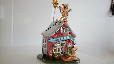 Blue Sky Heather Goldminc Cat on a Hot Tin Roof Tea Light Holder Clayworks