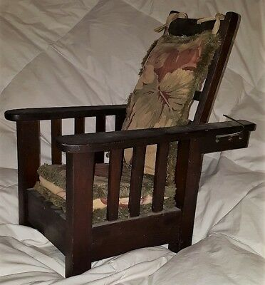 Antique Salesman Sample Stickley/Morris/Arts Crafts Vintage Reclining Wood Chair