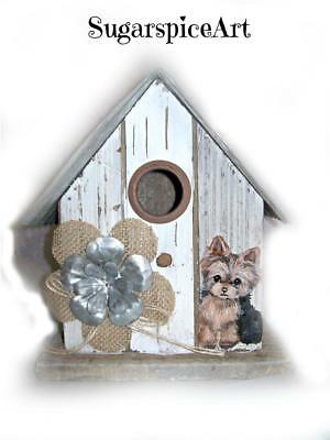 Yorkie Handpainted Birdhouse Spring Home Decor Dog Art by SugarspiceArt