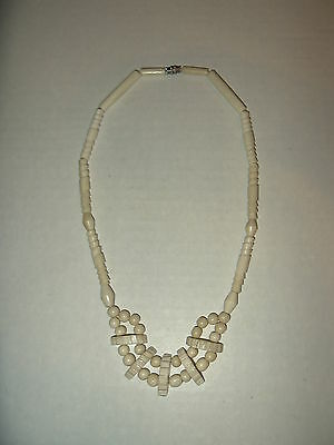 Vintage Faux Bone With Different Shaped Beads Necklace