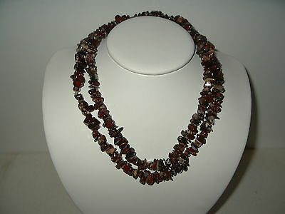 """Vintage Long 32"""" Brown Shades Agate Stone Necklace - 96.8 Grams"""
