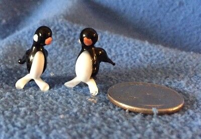 """PENGUIN! 2 Hand Blown Glass Figurines unmarked  1"""" tall VINTAGE early 90s"""