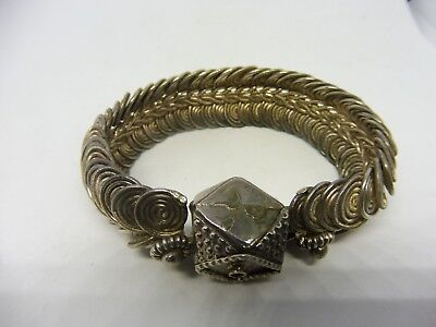 Very Unusual Antique Thick Middle Or Near East Feathered  Silver Alloy Bracelet