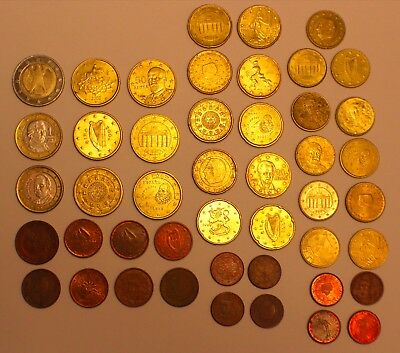 EURO Coin Lot - 46 Euro Coins, Various Countries and Dates, $12.87 Face Value