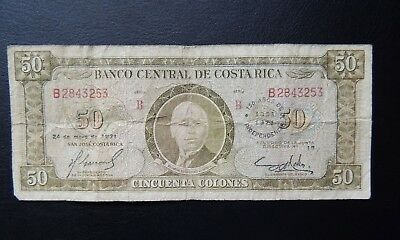 Costa Rica, 1971, 50 Colones, 150 year Independance, P243, Very scarce