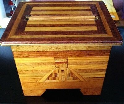 Vintage Hand Made Mechanical Inlaid Wood Cigarette Dispenser Box