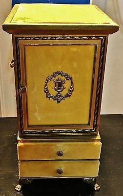 Vintage Gold and Yellow Felt Wooden Jewelry Box