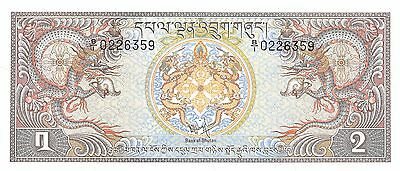 Bhutan  2 Ngultrum  ND. 1981  P 6   Series B/1  Uncirculated Banknote AS517jQ