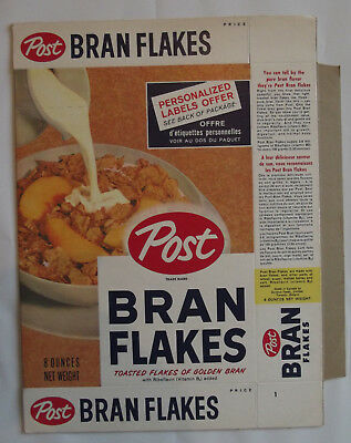 1950-60s Post Bran Flakes Personalized Labels Offer NM Unused File 8 oz Box