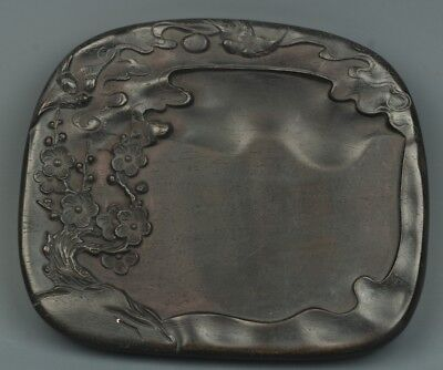Chinese Exquisite Hand-carved Floral pattern Wooden Inkstone