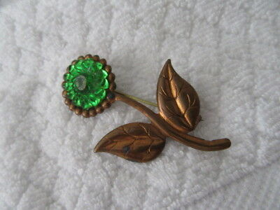 """Stunning  Vintage Brooch Sale  """""""" The Very Old Tin Spray W/green Glass Stones"""