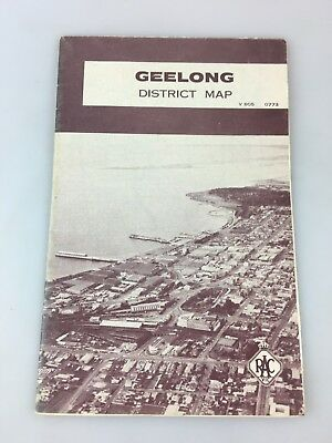 Geelong District Map In Miles - Racv - Fold Out Type - Vintage