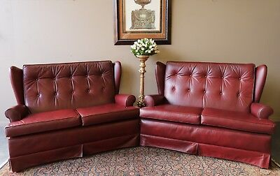 Gorgeous Vintage Pair Of 2 Seat Chesterfield Wing Back Sofa Couch Lounge Suite