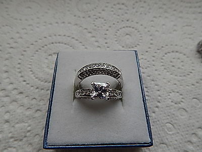 925 S/s 2.53K Princess Cut Sim. Diamond Engagement Ring & Wedding Ring Set Size