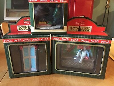 Lot of 3 Coca Cola Town Square Christmas Village - Sprite Boy