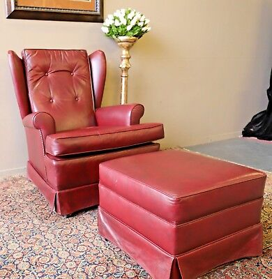 Divine Vintage Chesterfield Leather Wing Back Wingback Armchair & Ottoman Stool