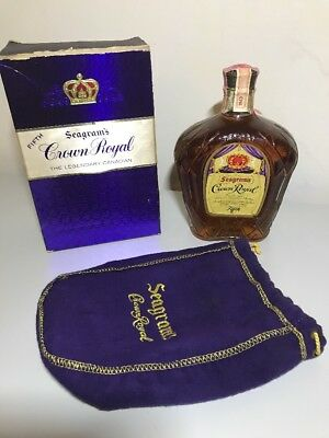1963 Crown Royal Seagram's Boxed Bottle Fifth Intact Seals