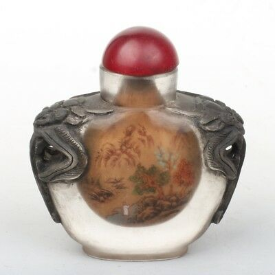 Chinese Exquisite glass Handmade Inside painting landscape snuff bottle