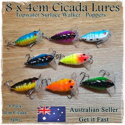 8 Cicada Fishing Lures Topwater Popper Surface Freshwater Bream Bass Cod Tackle
