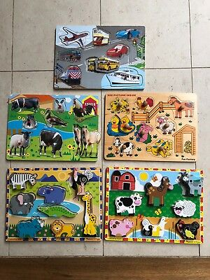 5 Wooden Puzzles (Includes Melissa and Doug and Fun Factory Puzzles)