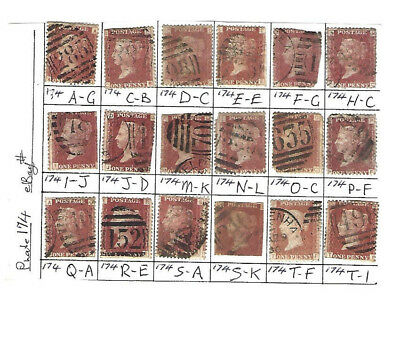 GREAT BRITAIN QUEEN VICTORIA 1d RED SG 43 1858-70 PLATE 174 X 18