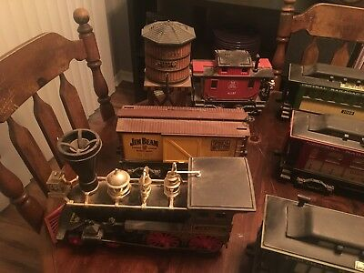 Vintage Jim Beam Decanter Train set and water tower (12 total pieces)