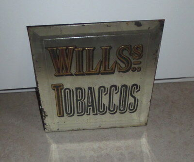 Rare Wills Tobaccos Reverse Painted Bevel Glass Advertising