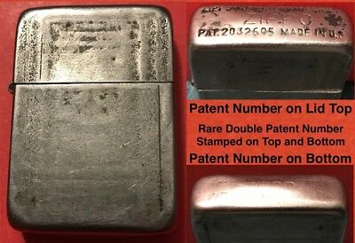 1943-45 Zippo Black Crackle Rare Version with Patent Number on Top and Bottom