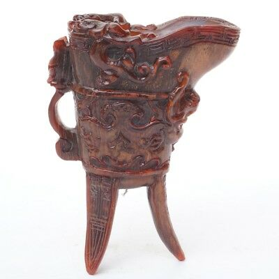 Chinese Exquisite Hand-carved brave troops carving OX horns cup