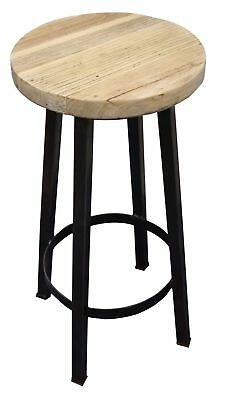 Rustic Elm Metal & Timber Stool - 750mm - 30 Available
