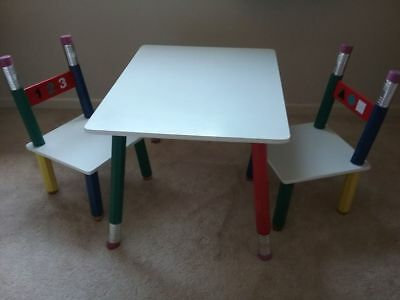 Toddler / Childs Wooden  Table & 2 Chair Set